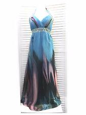Beautiful Maxi Dress UK 16 Quiz Halter Neck Full Length Gown Silky Chiffon