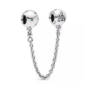 Genuine Pandora Fantasyland Castle Safety Chain 925 Sterling Silver ALE, W/POUCH