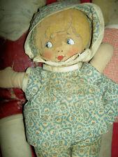 Darling rare, antique cloth labeled: Bruckner doll, Pancake Baby, orig. clothes