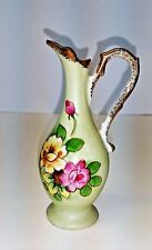 Vintage Norleans Mini Green Gold Trim Bud Vase Pitcher with Pink Yellow Flowers