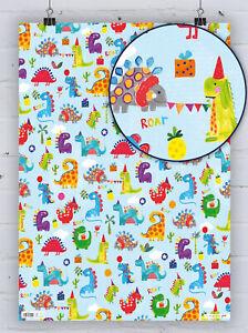 Fun Children's Dinosaur Gift Wrap Cute Dino Kids Birthday Wrapping Paper Salad