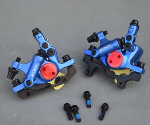 MTB XC Bike Disc Brakes Hydraulic push Calipers Mechanical pull Front Rear Blue