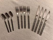 Vintage Gold Standard Stainless Night Blossom Japan Flatware Floral Forks Spoons