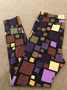 LuLaRoe TC Leggings Colorful Neon Aztec Geometric Super Major Unicorn Tall Curvy