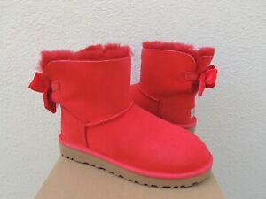 UGG RED RIBBON MINI BAILEY BOW II VELVET RIBBON BOOTS, WOMEN US 6/ EUR 37 ~NEW