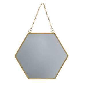 SASS & BELLE Touch of Gold Hexagon Mirror Metal Chain Link