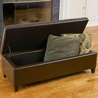 Stratford Brown Leather Storage Ottoman Bench
