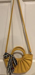 Girls Kids Designer Inspired Yellow Crossbody Bag with Twilly Scarf
