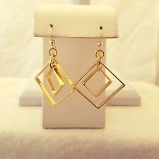 Gold Filled Double Square  Hook Earrings