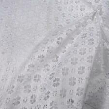 """Vintage Lace Fabric Per 1/2 Yard, White Open Work Flowers 40"""" Wide, Cotton Blend"""