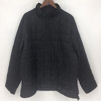 Lands End Mens Size XL 46-48 Jacket Coat Quilted Half Zip Front Black Pockets