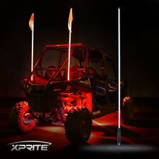 XPRITE 5FT RED LED Whip Light and flag for RZR ATV UTV JEEP Sand Dunes Off-Road