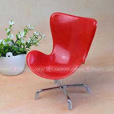 Swivel Egg Chair Armchair Backrest Barbie Blythe Dollhouse Miniatures 1:6 Red