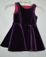3T OSHKOSH Genuine Toddler Girls deep purple Velour s/s lined Dress