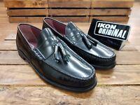 IKON ORIGINALS // Hove // Mens black tassel penny Loafers Shoes // NEW!!!