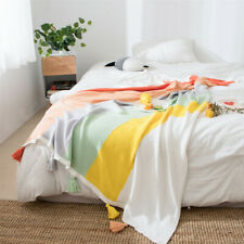 Rainbow Blanket Cotton Knitted Tassel Throw Air-conditioned Sofa Office Blankets