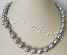 Charme 10-13mm grau Süßwasser perle halskette+leopard kopf verschluss