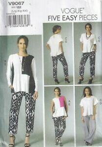 Vogue Sewing Pattern 9067, EASY Tops Trousers, Straight & Tapered, Sz 16-26 NEW