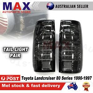 Pair Smoked LED Black Tail Light Lamp For Toyota Landcruiser 80 Series 1990-1997