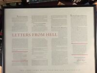 STEPHEN KING *SIGNED* LETTERS FROM HELL 1988 framed fine