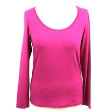 ARTIGIANO Rose Pink Top 12 Scoop Long Sleeve Satin Trim Italian Designer Summer