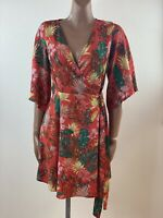 V BY BERY Red Tropical Print Wrap Dress Size 10