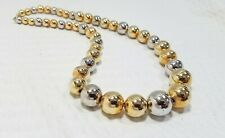 Vintage Graduated Gold Tone and Silver Tone Metal Bead Korea Choker Necklace