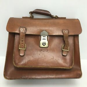 PWB Vintage Satchel Briefcase Bag Brown Leather Handle Shoulder Strap 171080