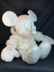 "Disney Store Snowflake Mickey White Glitter Plush - 15"" Christmas Stuffed Toy"