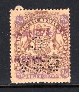 RHODESIA Stamp Lot #5: 1896, Scott #35 2Sh 6p Used, Purple Cancel & BSA-C Perfin