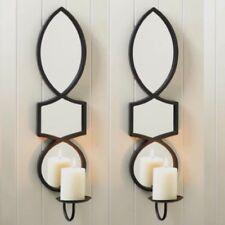 "2 Large Sconce 23.5"" Black Elegant Candle Holder Wall Decor"