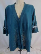 Susan Graver Style Womens Small Green Blue Cardigan One Snap Sweater CB15G
