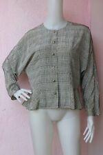 ₅ KORET Off-White Plaid Silk Blazer Casual Jacket Size: M