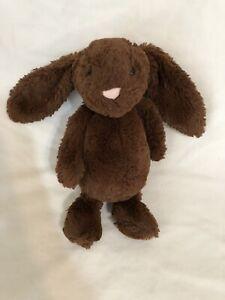"Jellycat Bashful 12"" Chocolate Brown Bunny Rabbit Plush Stuffed Animal"