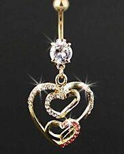 Open Heart 24K Karat GOLD electroplate Navel Hearts 3 Heart Gem Navel Bar
