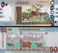 Sudan 50 Pounds 2015, UNC, P-75, Prefix FX