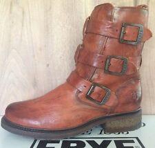 Frye sz 7.5 Valerie Shearling Strappy NIB $498 Cognac Buckle Women's Moto Boots