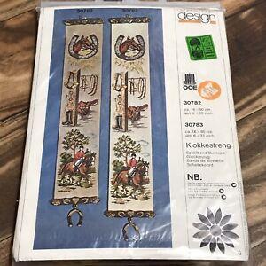 "Vintage Oehlenschlager Design Bell Pull Cross Stitch Kit 6x35"" Equestrian 30782"
