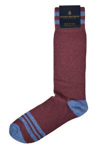 Brooks Brothers Mens 1 Pair Dark Red Striped Cotton Dress Socks 7-12  8384-7