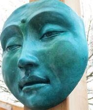 Weatherproof Buddha Turquoise Jade, Meditative Hanging Sculpture for Gardens