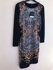TOPSHOP BLACK ANG GOLD CHAIN PRINT MIDI DRESS SIZE 8
