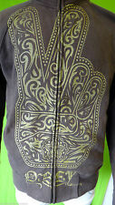 OBEY hamsa PEACE sign brown gold small hoodie track jacket fist propaganda small