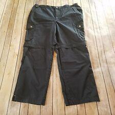 Lauren Active Size 12 Convertible Pants Black Cargo Zip Off Hiking Capri Crop