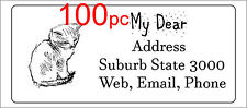 100 Personalised return address label custom mailing sticker 56x25mm cat animal