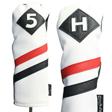 Majek Retro Golf #5 & H Wood & Hybrid Headcover White Red Black Leather Style