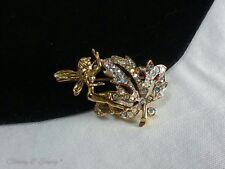 Vintage Estate Gold Kirks Folly Fairy Pixie Angel Flower Crystal Brooch Pin NOC