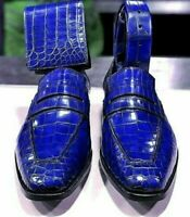 Mocassins en cuir véritable bleu à imprimé crocodile pour hommes faits à la main