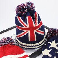 Unisex Union Jack Bobble Beanie Hat Men Women Flag Knitted Wooley Winter Warm