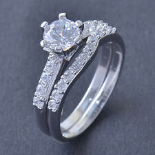 Fashion Stunning 9K White Gold Filled CZ 2-Ring Wedding Engagement Set size 7