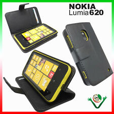 Estuche Negro eco cuero Para Nokia lumia 620 soporte de la up BOOKLET folleto